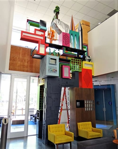 Sculptures by Thomas Wold seen at Facebook HQ, Menlo Park - FB Sculpture