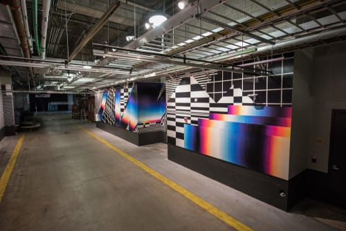 Murals by Felipe Pantone seen at Hard Rock Stadium, Miami Gardens - Miami Dolphins