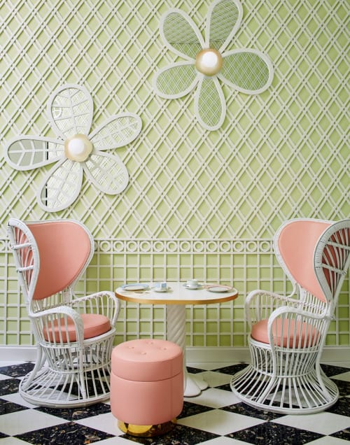 Chairs by India Mahdavi seen at Ladurée Beverly Hills, Beverly Hills - Rattan Lounge Chair