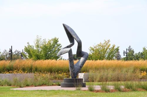 Sculptures by Richard Erdman seen at Dudley H. Davis Center, University of Vermont, Burlington - Arete Blu