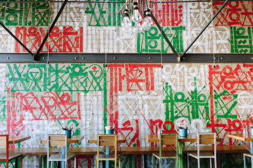 Murals by RETNA seen at Petty Cash Taqueria, Los Angeles - Hieroglyphic Mural