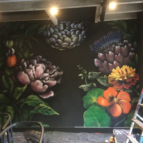 Murals by Claire Homewood seen at Janse & Co, Cape Town - Flower Wall
