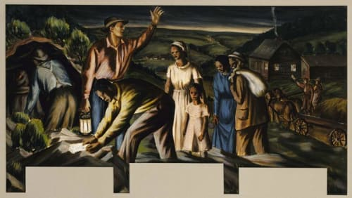 Murals by James Michael Newell seen at United States Postal Service - Dolgeville, Dolgeville - Underground Railroad
