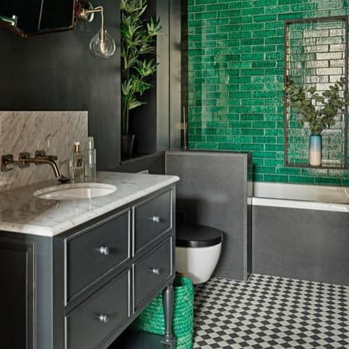 Tiles by Otto Tiles And Design seen at Private Residence, London - Green Bricks