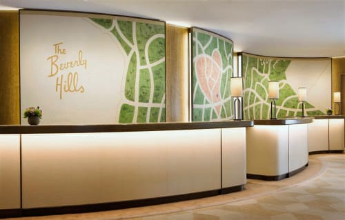 Murals by Paulin Paris Studio seen at The Beverly Hills Hotel, Beverly Hills - The Beverly Hills Hotel Reception Paintings
