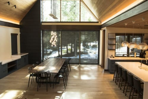 Tables by Mez Works Furniture seen at Private Residence, Truckee - Winter 'Solstice' Walnut Table