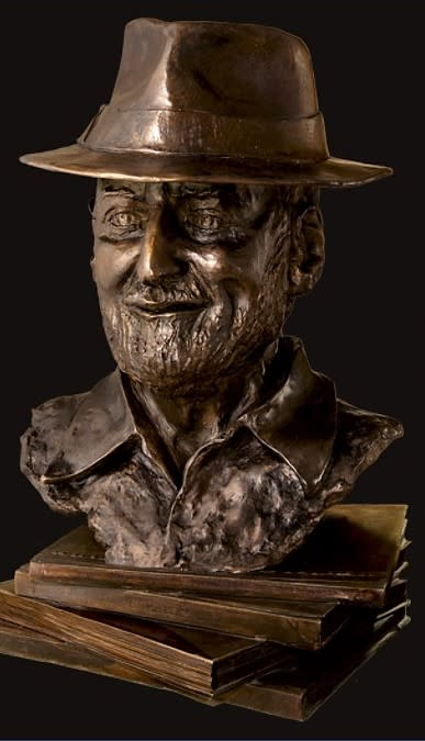 Sculptures by Dina Angel-Wing seen at North Beach Library, San Francisco - Poet Laureate Lawrence Ferlinghetti
