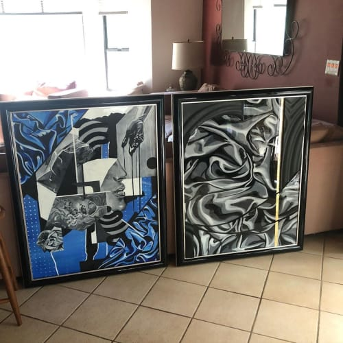 Paintings by Trent Thompson seen at Private Residence, Livermore - Black and White Abstract Painting