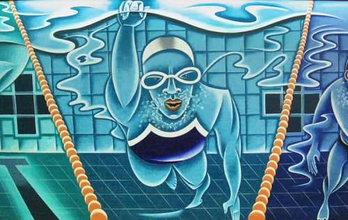 Murals by Arnie Charnick seen at McBurney YMCA, New York - Swimural