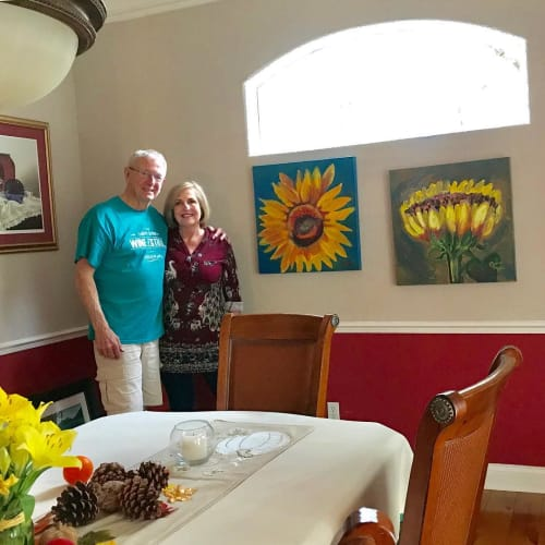 Paintings by Caroline Karp Artist seen at Private Residence, Safety Harbor - Sunflower Paintings