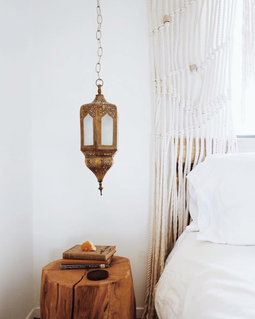 Lighting by Badia Design seen at The Joshua Tree Casita, Joshua Tree - Hanging Moroccan Brass Lantern