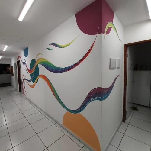 Murals by Batatus seen at Instituto Peró, Piedade - Colorful Murals