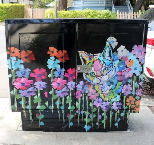Street Murals by Bhavna Misra seen at Cross Section University and Mullen Ave, Los Gatos, Los Gatos - Kitty Bouquet