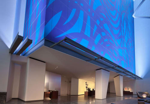 Murals by Sol LeWitt seen at Conrad New York, New York - Loopy Doopy Blue and Purple 1999