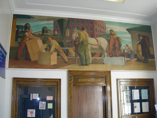 Murals by Arthur Getz seen at United States Postal Service, Lancaster, New York, Lancaster - Early Commerce in the Erie Canal Region