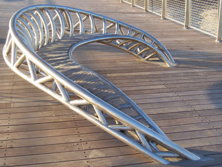 Public Sculptures by Mark Gibian seen at North 5th Street Pier and Park, Brooklyn - Crescendo