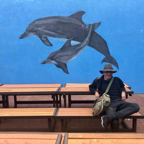 Murals by Talavera-Ballón seen at Commodore Sloat Elementary School, San Francisco - Dolphin