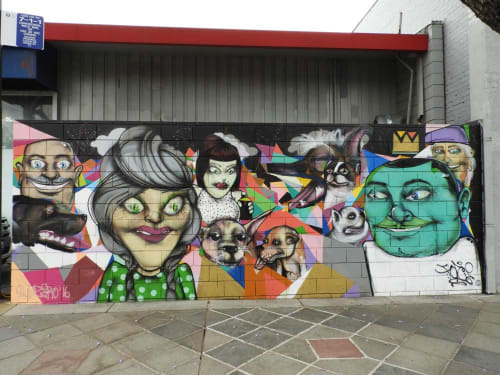 Street Murals by Force 129 seen at 467 S 1st St, SoFa District, San Jose - Peeps and Pups