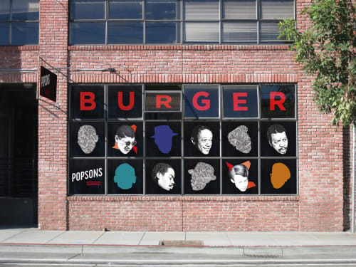 Murals by Ian Johnson seen at Popson's Burgers, San Francisco - Window Display