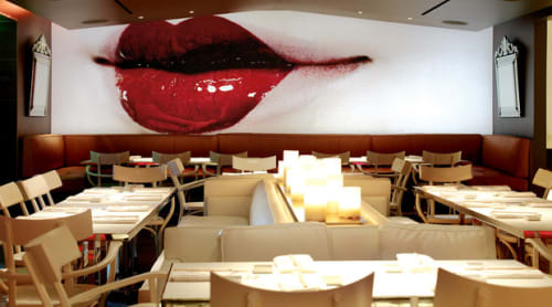 Photography by Philippe Starck seen at Katsuya Hollywood, Los Angeles - Huge Illuminated Photos (Details of a geisha face)