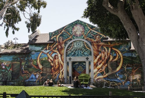 Murals by Raul Martinez seen at Mission Pool, San Francisco - New World Tree of Life