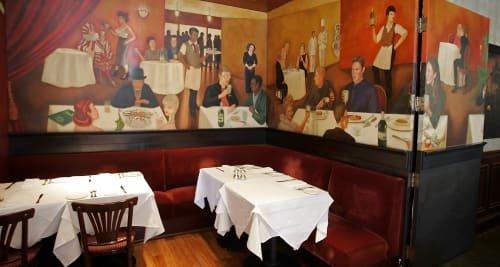 Murals by Willem Racké Studio seen at Absinthe Brasserie & Bar, San Francisco - Mural - Dining in Brasserie in France