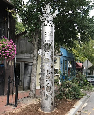 Public Sculptures by Beatrice Coron seen at 65 N Lexington Ave, Asheville - Lexington Life Column