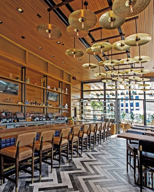 Lighting by Cerno seen at Ocean Prime Beverly Hills, Beverly Hills - Custom Bespoke Lighting