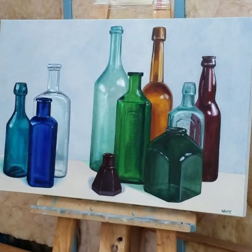 Paintings by Laura White Art seen at Bryant Alsop Pty Ltd, Hawthorn - The Bottle Collector