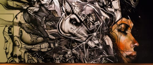 Murals by David Choe seen at Momofuku Ko, New York - Horse's Head and a Woman's Face Mural