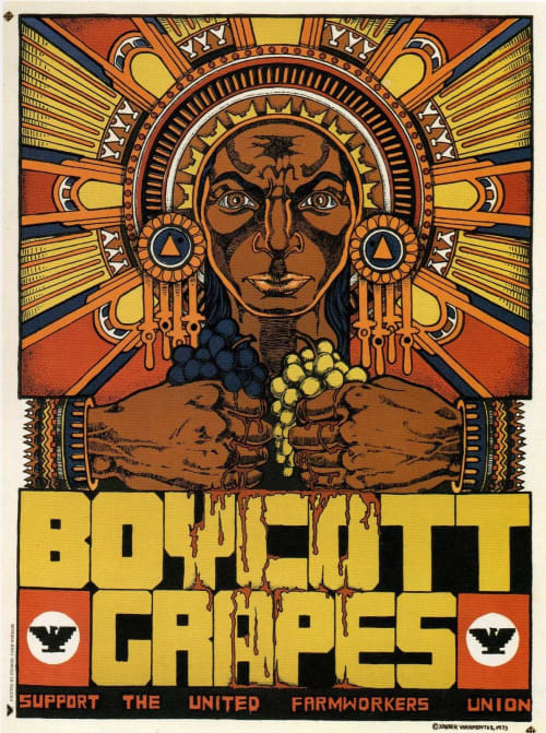 Paintings by Xavier Viramontes seen at Smithsonian American Art Museum, Washington - Boycott Grapes, Support the United Farm Workers Union