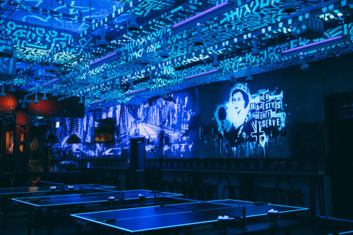 Murals by David Soukup seen at AceBounce Ping Pong Bar & Restaurant Chicago, Chicago - Her Majesty's Secret Serve