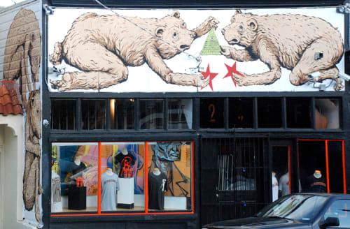 Street Murals by Ericailcane seen at Laussat Street, Western Addition, San Francisco - Bear Mural