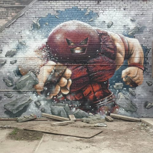 Street Murals by Rogueoner seen at 71 Brewing, Dundee - Juggernaut