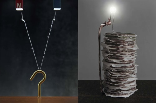 Photography by Caleb Charland seen at The Cassa Hotel and Residences, New York - Coin Battery & Study with Hook, Nails, and String II