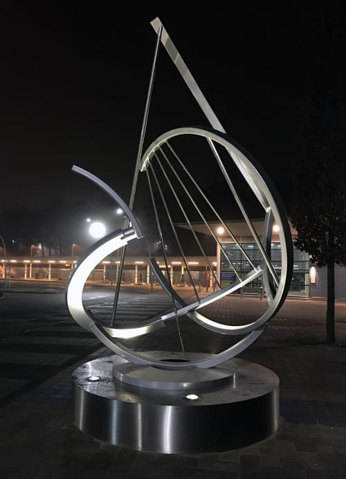 Sculptures by John Atkin seen at Corby Railway Station, UK, Corby - Sundew
