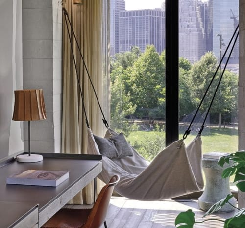 Beds & Accessories by Tracie Herrtage of Le Beanock at 1 Hotel Brooklyn Bridge, Brooklyn - Hammock