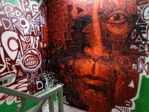 Murals by Jonathan Matas seen at Hotel Zetta, San Francisco - Mural Stairwell Street Art