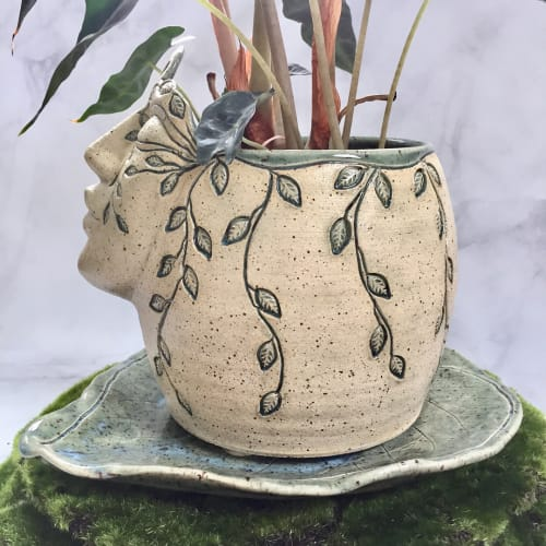 Vases & Vessels by Queen Bee Pottery seen at Queen Bee Pottery Studio, Coconut Creek - Garden Goddess Planters