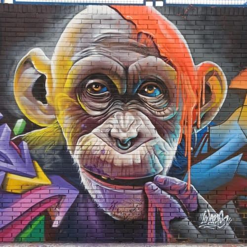 Street Murals by Lalone seen at Colegio Privado Concertado El Divino Pastor, Málaga - Monkey Mural