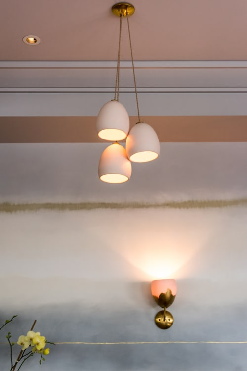 Chandeliers by Hammers and Heels at Nightbird, San Francisco - Custom White Porcelain Cluster Chandeliers