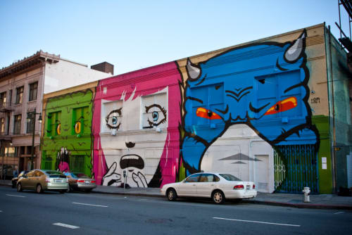 Street Murals by Mitsu Overstreet seen at 56 Golden Gate Avenue, SF, San Francisco - Fear Head