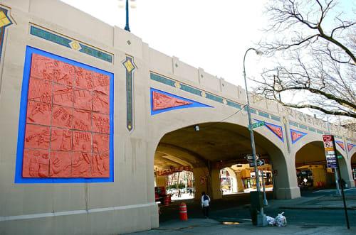 Public Sculptures by Deborah Masters seen at Ocean Parkway Viaduct, Brooklyn - Coney Island Reliefs