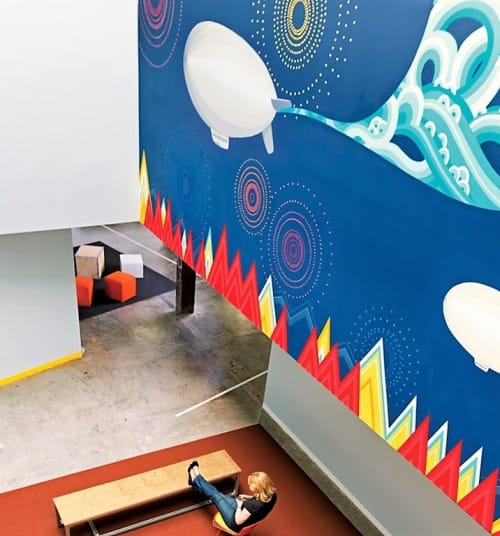 Murals by Kelly Ording seen at Facebook HQ, Menlo Park - Breakout Area