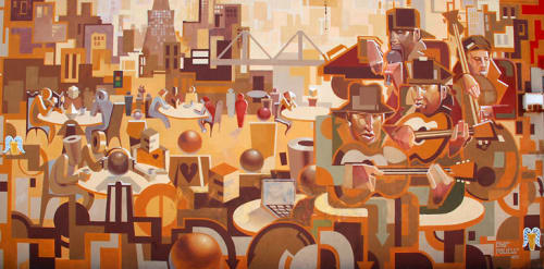Murals by Josh Powell seen at The Pizza Place on Noriega, San Francisco - Cafe Mural