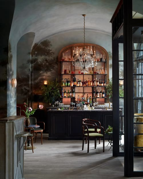 Murals by Dean Barger seen at Le Coucou, New York - Hand-painted Mural on the Surrounding Walls