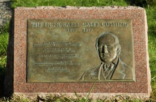 Public Sculptures by Emily Bedard seen at Highland Cemetery, Newburyport - Caleb Cushing Memorial