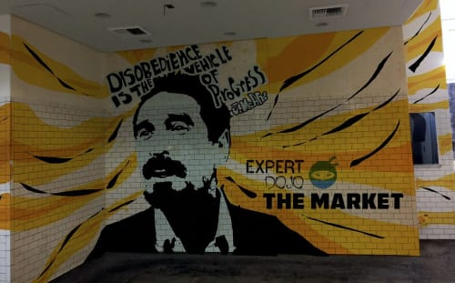 Street Murals by Eric Rosner at Los Angeles, Los Angeles - Disobedience Is The Vehicle Of Progress
