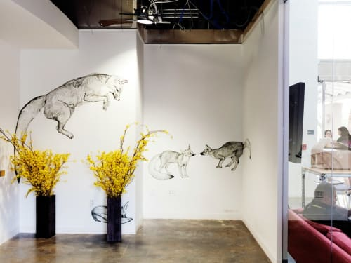 Murals by Jane Kim seen at Facebook HQ, Menlo Park - Foxes