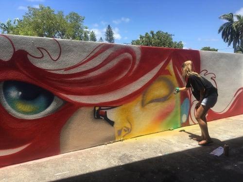 Street Murals by Yuhmi Collective seen at Miami Beach Senior High School, Miami Beach - High Tide